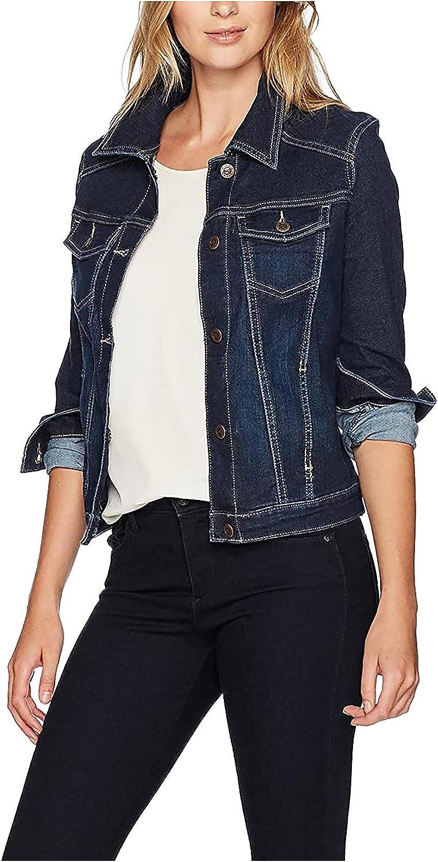 Shirts for Women Fashion Lapel Long Sleeve Top Button-Down Casual Denim Jacket Open Front Long Cardigan Outerwear