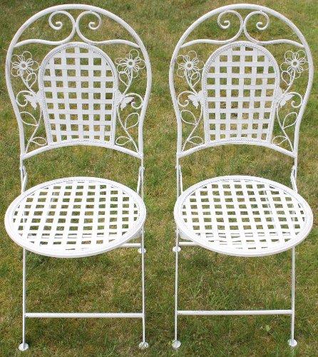 Maribelle White Round Metal Floral Designed Folding Outdoor Garden Patio Chairs X 2