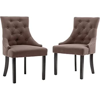 Mecor Fabric Dining Chairs Set of 2,Leisure Padded Chair with Armrest,Black Solid Wooden Legs,Brown
