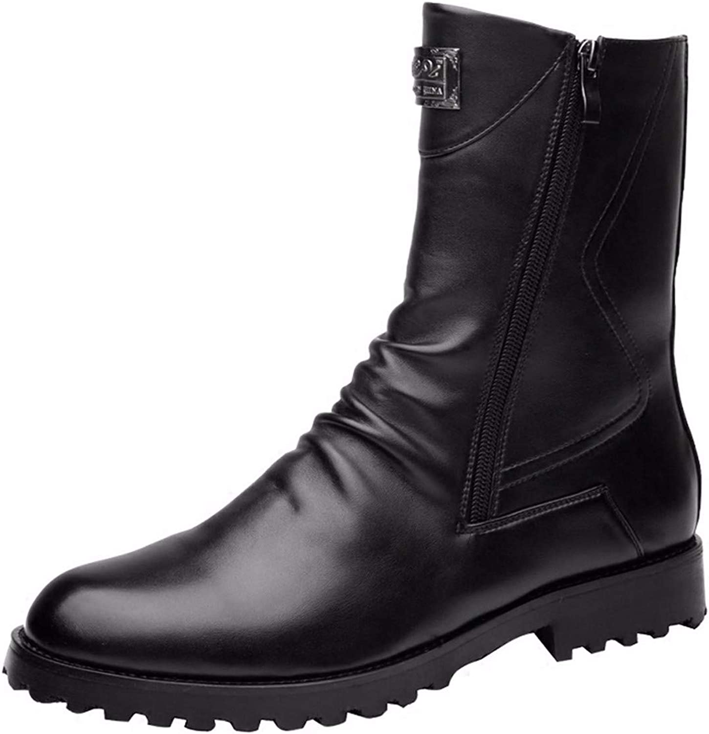 KMJBS Men'S shoes Leather Martin Boots High Autumn And Winter English Casual Leather Boots Single shoes.