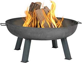 Sunnydaze Cast Iron Outdoor Fire Pit Bowl - 34 Inch Large Round Bonfire Wood Burning Patio & Backyard Firepit for Outside with Portable Fireplace Metal Handles, Steel Colored