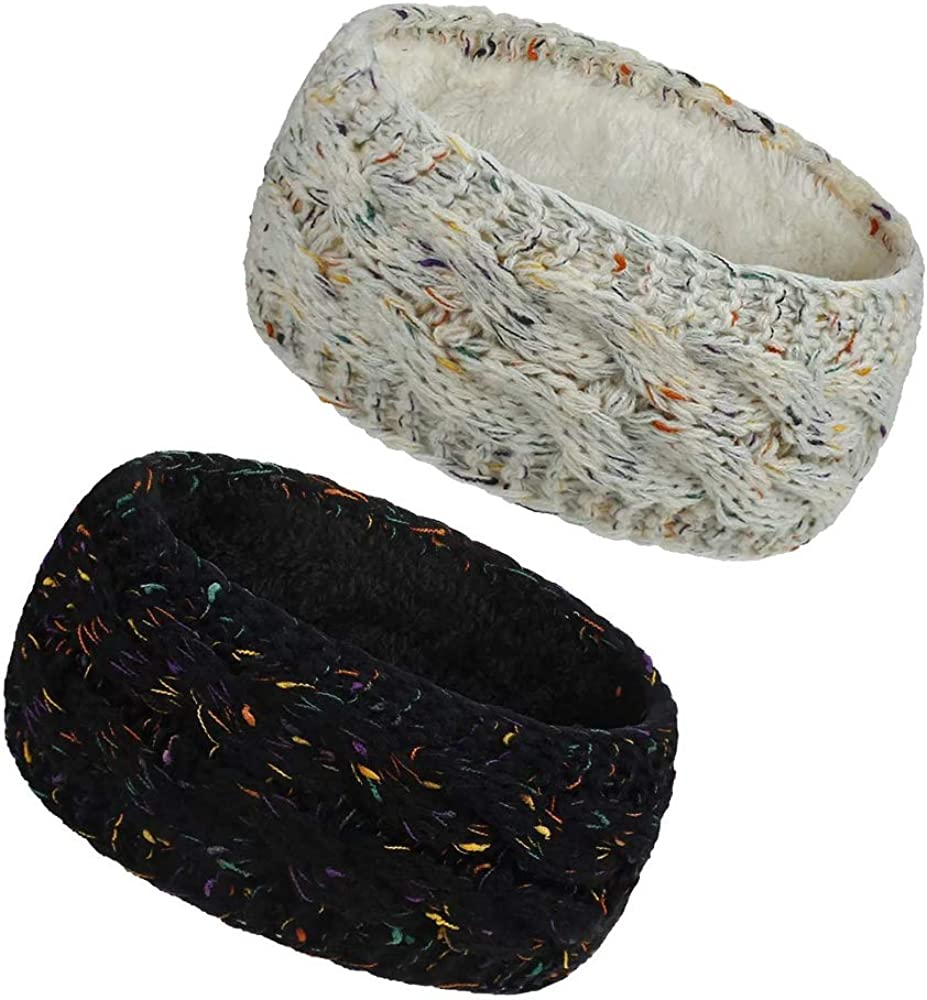2 Pack Womens Winter Ear Cover Soft Warmer Headband Cable Knit Thick Fleece Lined Crochet Turban