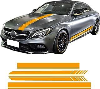 الإصدار 1 تنورة جانبية مع غطاء محرك محرك السيارة وأشرطة سباقات من الفينيل الأصفر/الأسود/5D لمرسيدس بنز C63 كوبيه W205 AMG ...