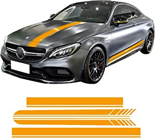 charminghorse Edition 1 Side Skirt Hood Roof Racing Stripe Yellow/Black/5D Carbon Vinyl Decals for Mercedes Benz C63 Coupe W205 AMG C200 C250 (Reflective Yellow Set)