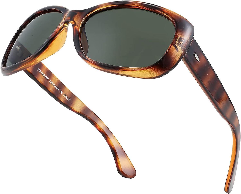 FEISEDY Vintage Square Polarized Sunglasses Men for Max 50% OFF Popularity Women Havana