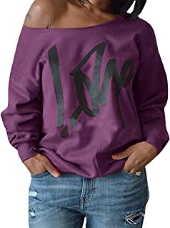 10aae0af2aad1 Womens Plus Size Off Shoulder Pullover Sweatshirt Love Wifey Letter Printed  Tops Shirts