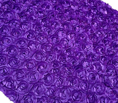 "Aimeart Wedding Accessories 3D Rose Aisle Carpet Runner Tablecloth 51"" Wide, Dark Purple"