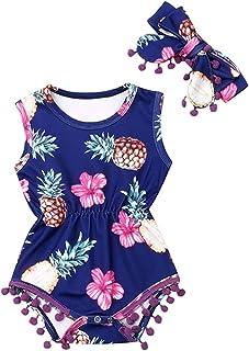 الرضع 2pc بذلة عقال الزي الوليد الوليد طفلة شرابة داخلية الأناناس الأزهار أكمام رومبير (Color : Blue, Kid Size : 24M)