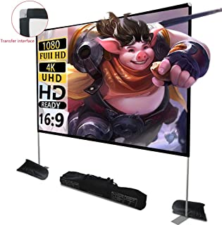 Projector Screen with Stand 100 inch 16:9 HD 4K Outdoor Indoor Projection Screen for Home Theater 3D Fast-Folding Projector Screen with Stand Legs and Carry Bag Projection Movie Wrinkle-Free