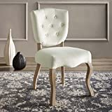 Modway Array French Vintage Tufted Performance Velvet Weathered Wood Dining Chair in Ivory