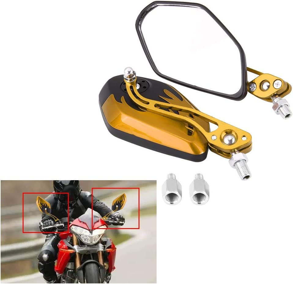 Rearview Mirror,1 Pair Universal Motorcycle Motorcycle Rear View Mirrors Scooter Aluminum Flame Pattern Side Rear View Mirrors For Motorcycle Red