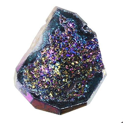 De titanio y de ágata y Druzy de la piedra preciosa, varios en la parte superior-de apriete, de tamaño mediano de 53-30 millimeter, 1 unidad de las letras, color azul y diseño de lirios
