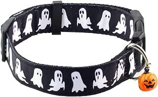 Bolbove Collar de Halloween ajustable para mascotas con campana para perros