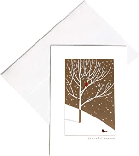 Hallmark Christmas Boxed Cards, Set of 16 Greeting Cards and 17 Matching Envelopes, Illustration of Two Cardinals in Gold Mettalic and Glitter Snowy Woodland Scene (Peaceful Season)