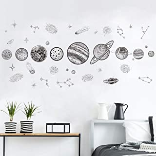 Finduat Outer Space Planet Wall Stickers Decal, Solar System Kids Removable Wall Stickers Boys Room Decor, Star Wall Stickers, Vinyl Wall Decals for Children Baby Kids Boys Bedroom, Nursery Decor