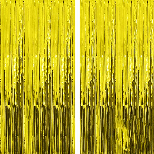 Gold Metallic Tinsel Vorhänge,2 Stück Folie Fringe Shimmer Vorhang,2.5m Quaste Folie Vorhang Metallic,Folie Fransen Vorhänge Tür,Lametta Vorhang dekorative