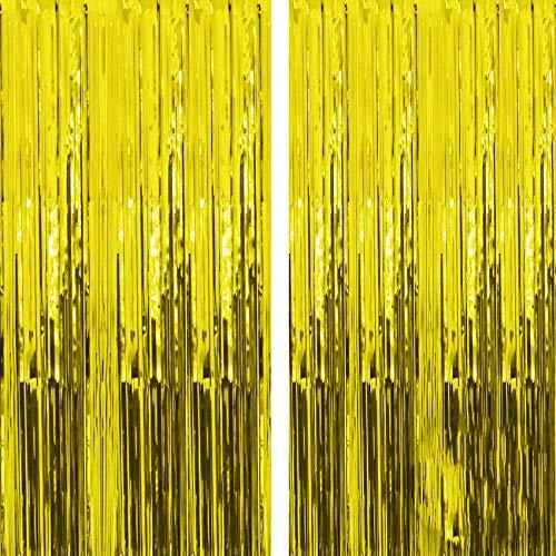 Sunshine smile Gold Metallic Tinsel Vorhänge,2 Stück Folie Fringe Shimmer Vorhang,2.5m Quaste Folie Vorhang Metallic,Folie Fransen Vorhänge Tür,Lametta Vorhang dekorative