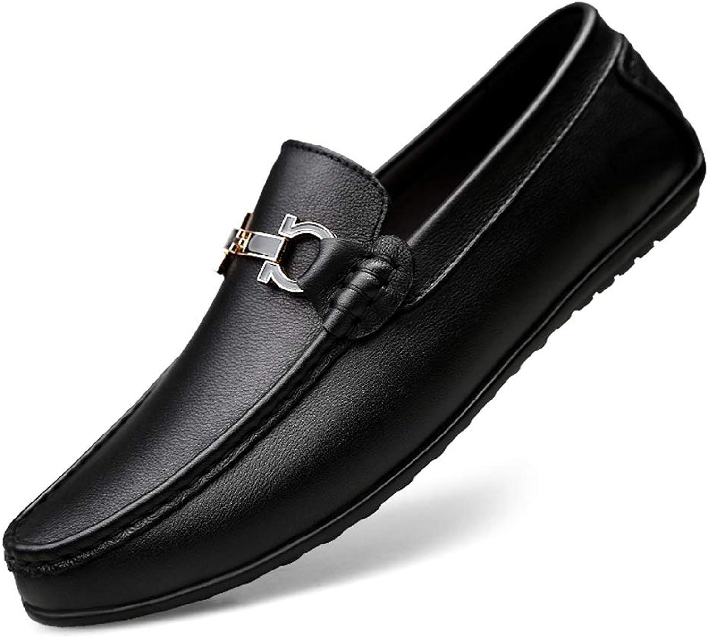 Peas shoes Men's Leather Driving shoes Casual shoes White shoes Men's Cattle Leather Breathable shoes (color   Black, Size   45)