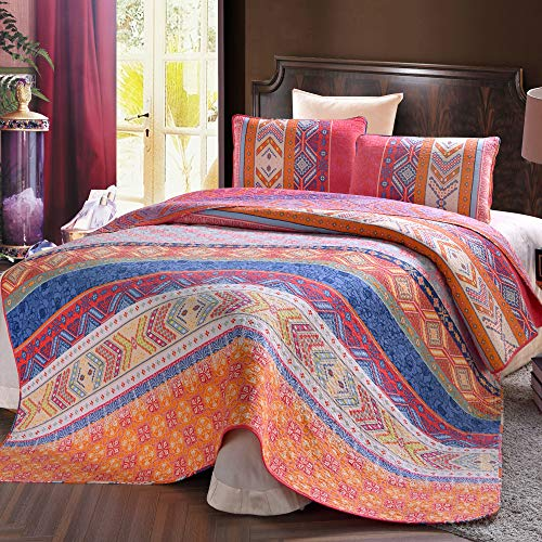 Exclusivo Mezcla 100% Cotton 3-Piece Multicolored Boho King Size (92x104 Inch) Quilt Set/Bedspread/Coverlet- Lightweight, Reversible and Decorative