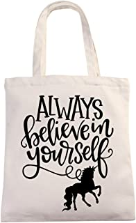 Inspirational Unicorn Natural Cotton Canvas 12 Oz Reusable Tote Bag | Always Believe in Yourself Tote for Kids | School Re...