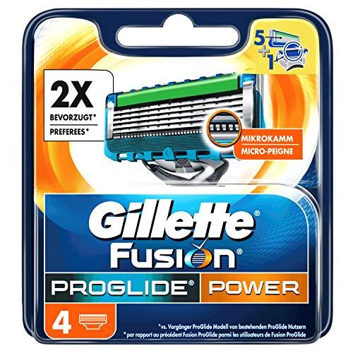 Gillette Fusion ProGlide Power - Lamette per rasoio, confezione da 4