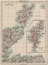 MORAY FIRTH. Caithness Elgin Shetlands Orkneys. Scotland. JOHNSTON - 1900 - old map - antique map - vintage map - printed maps of Scotland
