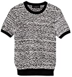 Victoria Beckham Women s Black and White Short Sleeve Sweater Knit Top (3X)