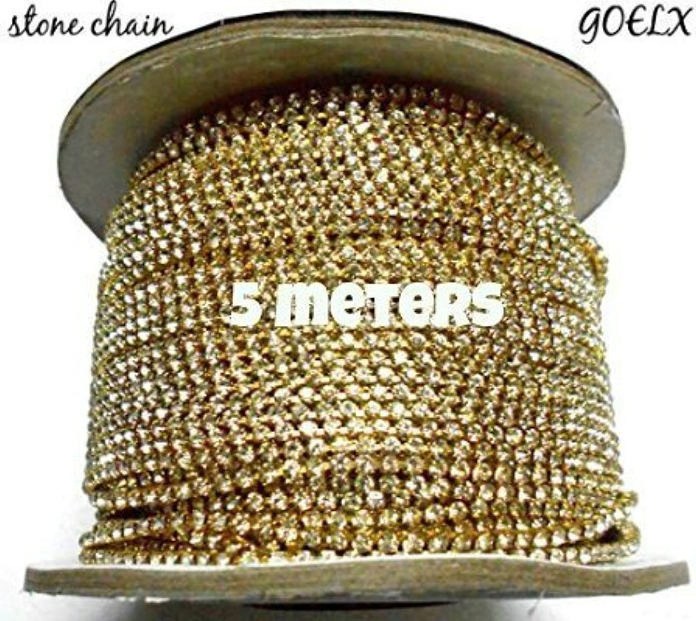 GOELX Rhinestone Chain crystal chain for Jewellery Making, decorations,craft works Pack Of 5 Yards