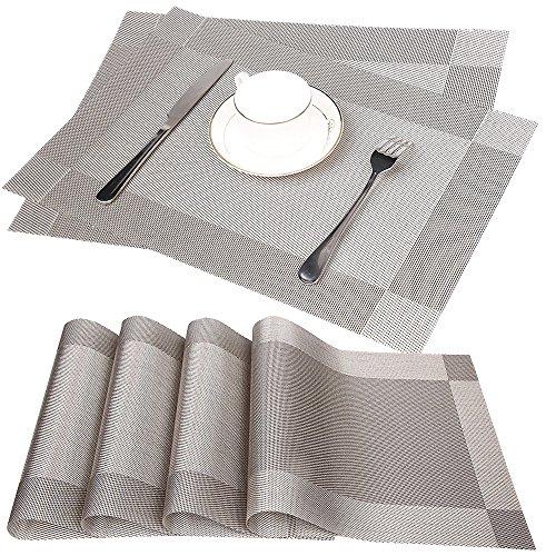 Fontic 6er Set Platzsets 30x45cm Platzdeckchen Rutschfest Abwaschbar Tischmatten aus PVC Abgrifffeste Hitzebeständig Tischsets Schmutzabweisend und Waschbare, Platz-Matten für küche Speisetisch (Grau)