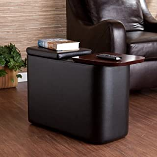 RNN Home Theater End Table, Multiple Colors, Features interior storage, wooden table surface, and 2 hidden cup holders, Walnut accent, Constructed of MDF, vinyl and wood veneer.