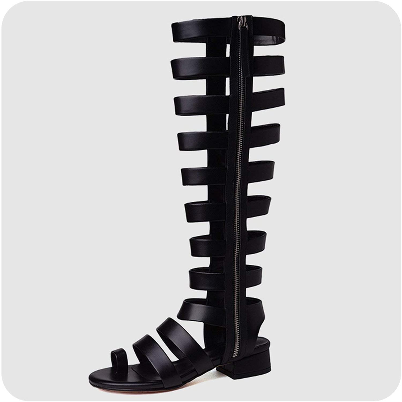 Houfeoans 34-42 Women Summer Gladiator Sandals Genuine Leather Black Med Heels Casual shoes
