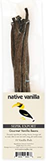 Native Vanilla (10) Vanilla Beans Grade A Gourmet- Sepik Export Premium Whole Vanilla Bean Pods