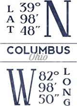 Columbus, Ohio - Latitude and Longitude (Blue) 66877 (16x24 SIGNED Print Master Art Print - Wall Decor Poster)