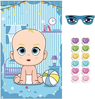 VEYLIN Games for Baby Shower, Pin The Dummy On The Baby Game Set Include 2Pcs Eye Mask 36Pcs Pacifier Sticker and a Large Blue Baby Poster(20x32 inches)