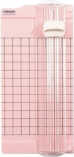 Vaessen creative Mini Massicot, 6,5 x 15,3 cm, Petit Outil pour Créer des Cartes et Loisirs Créatifs avec Papier, Rose