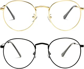 Classic Round Metal Clear Lens Glasses Frame Unisex...
