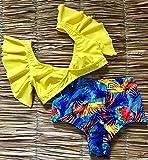 BENGKUI Bikini,Amarillo, Pájaro Animal Print Mujeres Bañadores Bañador Bikini Culotte De Cintura Alta Bikinis Push Up Set Traje De Baño Beach Wear Femenino Verano,S