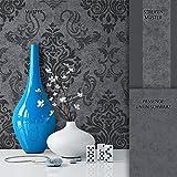 NEWROOM Barocktapete Tapete Schwarz Grau Ornament Barock Modern Vliestapete Vlies moderne Design Optik Barocktapete Wohnzimmer Glamour inkl. Tapezier Ratgeberer