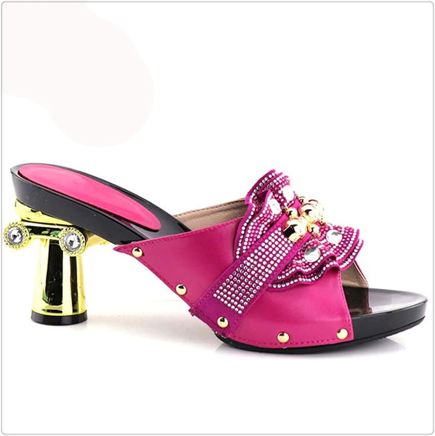 Dmoshibei Thin Heels 12.5cm shoes to Match Italian African Wedding shoes and Bag Set