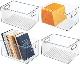 mDesign boite stockage à poignées intégrées (lot de 4) – boite rangement pour la cuisine, la salle de bain ou la papeterie...