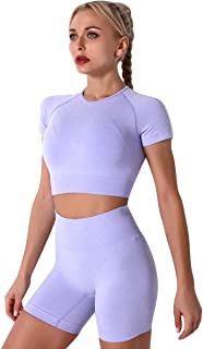 Women Seamless Yoga Outfits 2 Piece Workout Short Sleeve Crop Top with High Waisted Running Shorts Sets Activewear