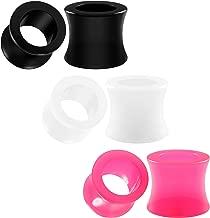 BIG GAUGES 3 Pairs Black White Pink Acrylic Semi Double Flared Saddle Piercing Jewelry Ear Stretching Lobe Plugs Flesh Tunnel Earring