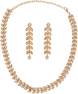 Crunchy Fashion Indian Bollywood Style Party Wear Crystals Jewelry Necklace and Earrings Set for Women/Girls