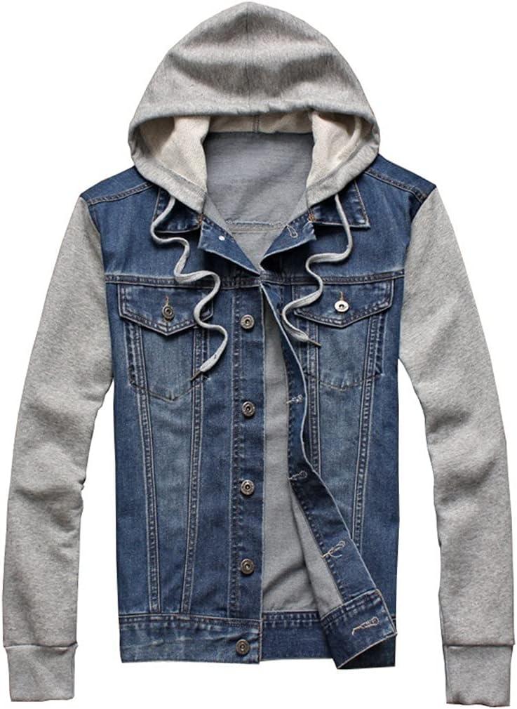 JJZXC Denim Jacket Men Quantity limited Hooded Jackets Translated Loos Hip-Hop Jeans Hoodies