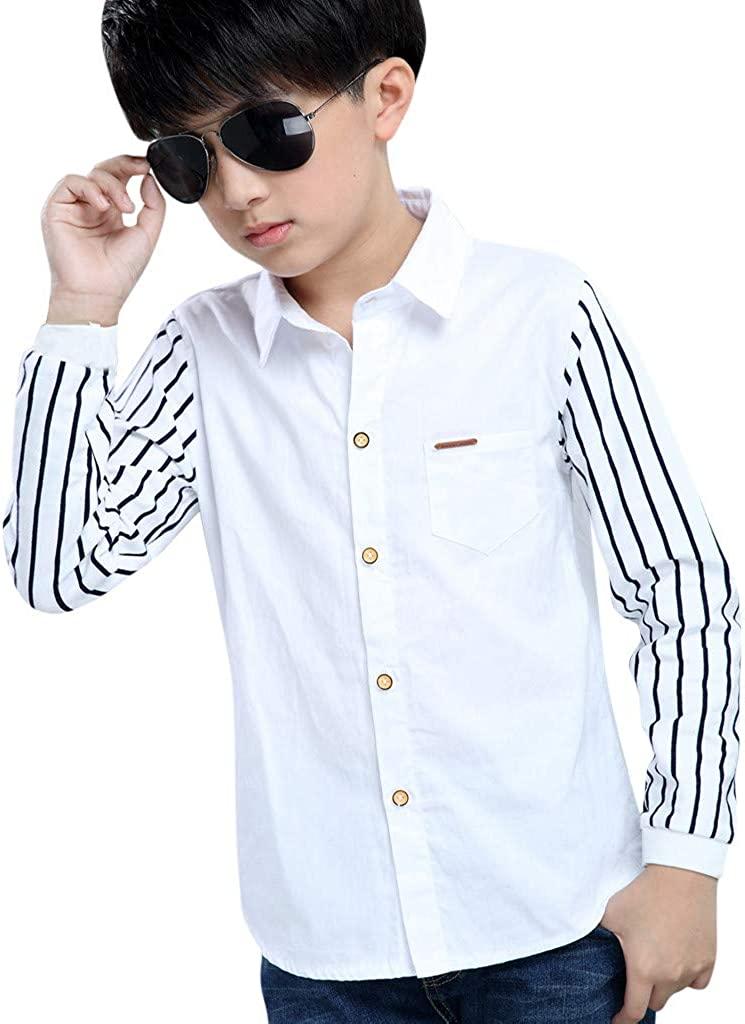 Doad Toddler Kids Boys Lapel Long Sleeve Striped Casual Polo Tops Tee Shirts