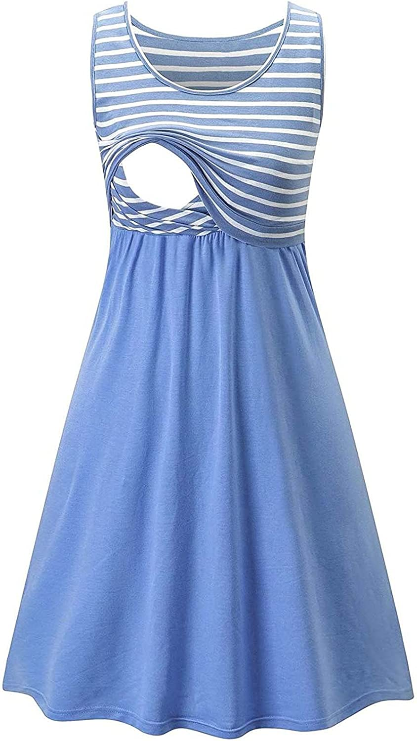 GoodLock Pregnant Max 70% OFF Women We OFFer at cheap prices Striped Stitching Tank Comfy Soft Dress