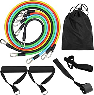 Lixada 11pcs Resistance Bands Set Workout Fintess Exercise Tube Bands Door Anchor Ankle Straps Cushioned Handles with Carr...