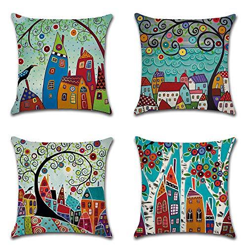 HZDHCLH 4er Set Kissenbezug kissenhülle 45 x 45 cm aus Baumwolle und Leinen Kissenbezüge für Sofa Gartenbett Outdoor Sofakissen Wohnzimmer (Abstrakter Baum 2)