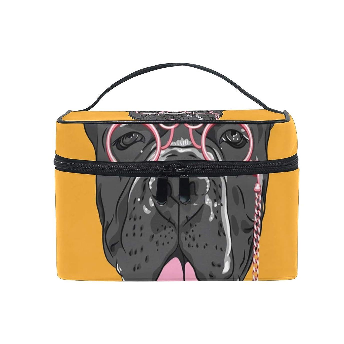 かろうじて反動バリケードメイクボックス ヒップスターrドッグgドッグ柄 化粧ポーチ 化粧品 化粧道具 小物入れ メイクブラシバッグ 大容量 旅行用 収納ケース