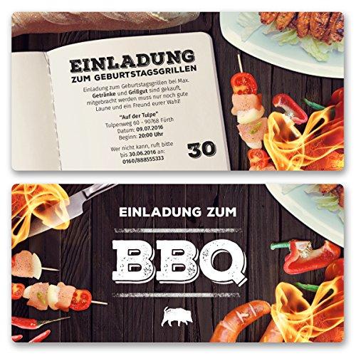 (30 x) Einladungskarten Geburtstag BBQ Bratwurst Grillen Bier Barbecue Einladungen